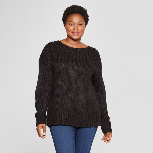 Womens Plus Size Long Sleeve Chunky Knit Sweater Target