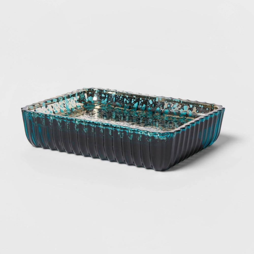 Glass Soap Dish Teal Blue Opalhouse 8482