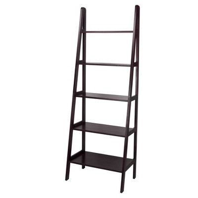 5 Shelf Ladder Bookcase Espresso - Flora Home