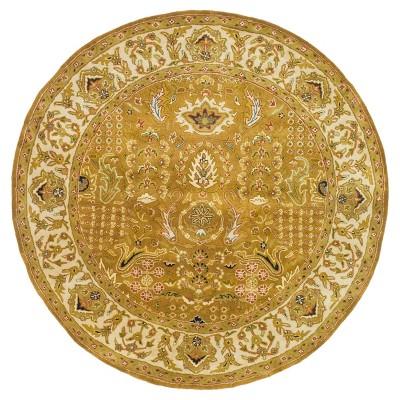 Gold/Beige Botanical Tufted Round Accent Rug - (3'6  Round)- Safavieh®