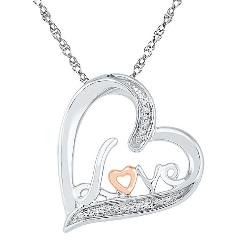 0.02 CT. T.W. Round White Diamond Prong Set Heart Pendant in 10K RoseGold over Sterling Silver - image 1 of 1