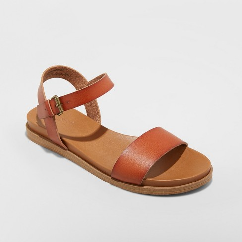 Women's Nyla Ankle Strap Sandals - Universal Thread™ Cognac 7 - image 1 of 3
