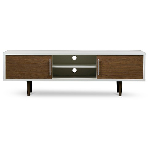 Gemini Wood Contemporary Tv Stand Walnut White 66 Baxton Studio Target
