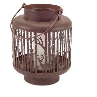 "Melrose 7.5"" Deer in Forest Scene Christmas Pillar Candle Holder Lantern - Brown"
