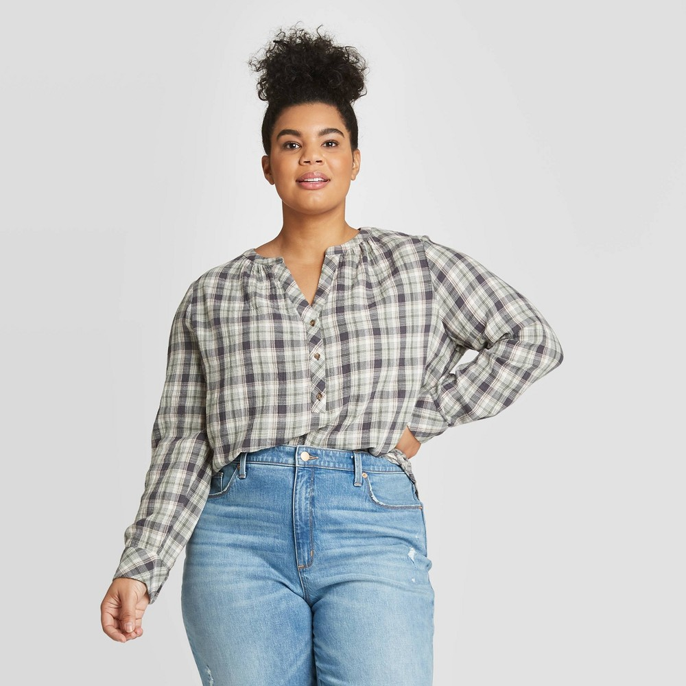 Women's Plus Size Striped Long Sleeve V-Neck Button-Front Tunic - Universal Thread Green 4X, Women's, Size: 4XL, Gray was $22.99 now $16.09 (30.0% off)