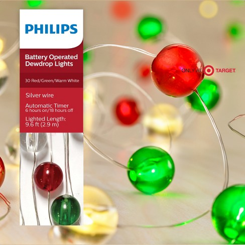 philips 30ct christmas led dewdrop lights redgreenclear globes battery operated warm white