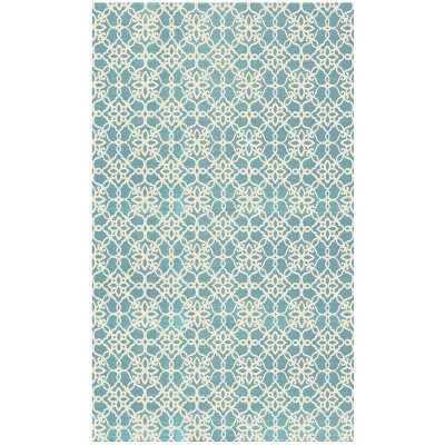 Aqua Floral Woven Accent Rug 3'X5' - Ruggable