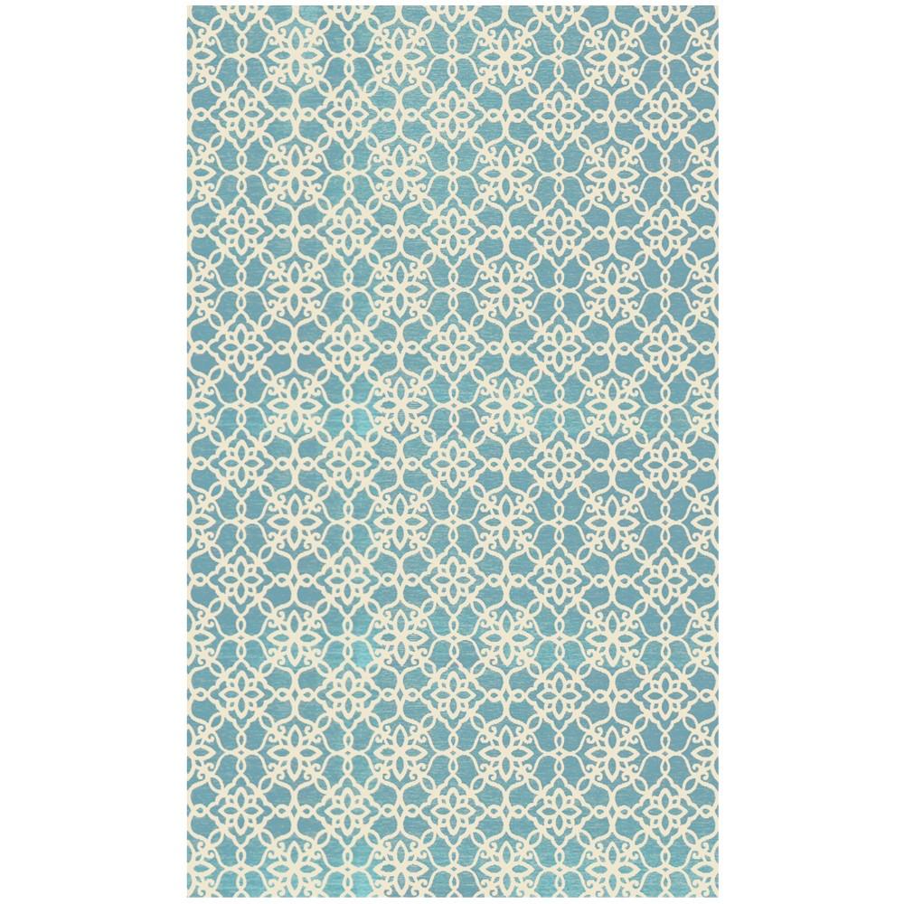 Aqua (Blue) Floral Woven Accent Rug 3'X5' - Ruggable