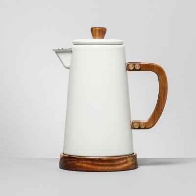 Cocoa Pot With Acacia Finish - White - Hearth & Hand™ with Magnolia