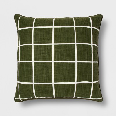 Green Grid Oversize Square Throw Pillow - Room Essentials™
