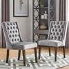 Set of 2 Old Town Velvet Wingback Button Tufted Hostess Chair Gray - Inspire Q - image 4 of 4