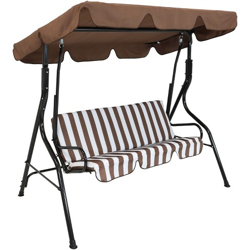 2-Person Steel Frame Porch Swing with Adjustable Canopy - Brown ...