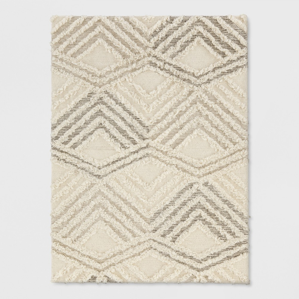 5'x7' Cream Damask Tufted Area Rug - Project 62, Beige