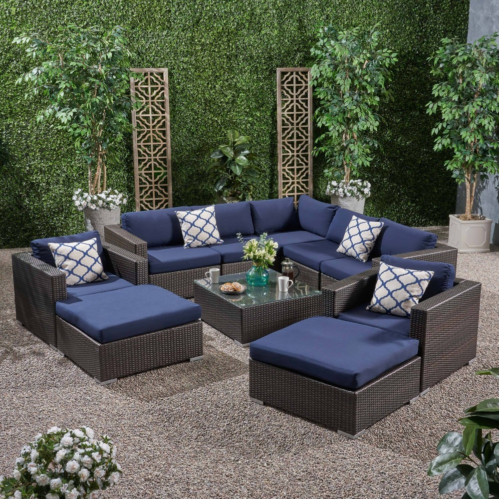 Image of 10pc Santa Rosa Wicker Patio Seating Sectional Set with Sunbrella Cushions Brown - Christopher Knight Home, Blue Blue