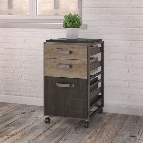 3 Drawer Refinery Mobile File Cabinet In Rustic Gray Bush