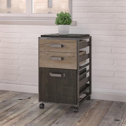 3 Drawer Refinery Mobile File Cabinet In Rustic Gray Bush