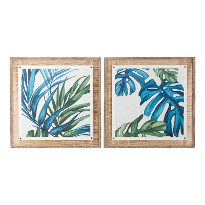 """(Set of 2) 29"""" x 29"""" Square Botanical Leaves on Paper Wood Wall Art with Natural Reed Framing Blue and Green - Olivia & May"""