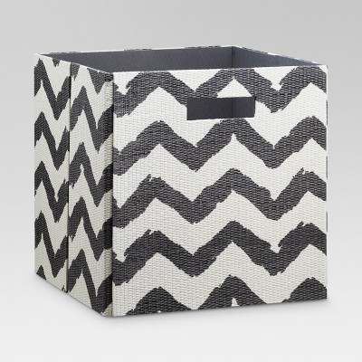 Fabric Cube Storage Bin Gray Chevron 13  - Threshold™