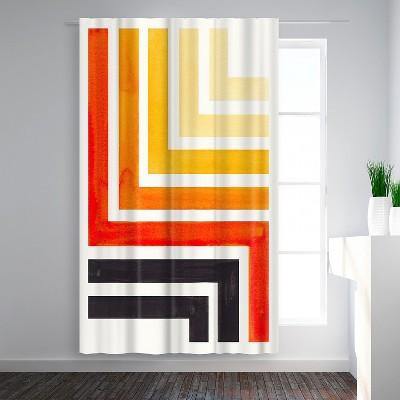 Americanflat Orange Aztec Pattern by Ejaaz Haniff Blackout Rod Pocket Single Curtain Panel 50x84