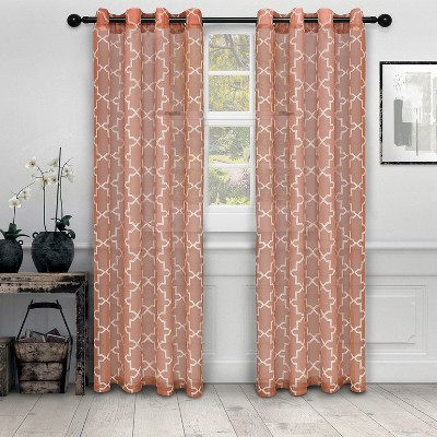 Embroidered Jacquard Semi-Sheer Quatrefoil 2-Piece Curtain Panel Set with Stainless Grommet Header - Blue Nile Mills