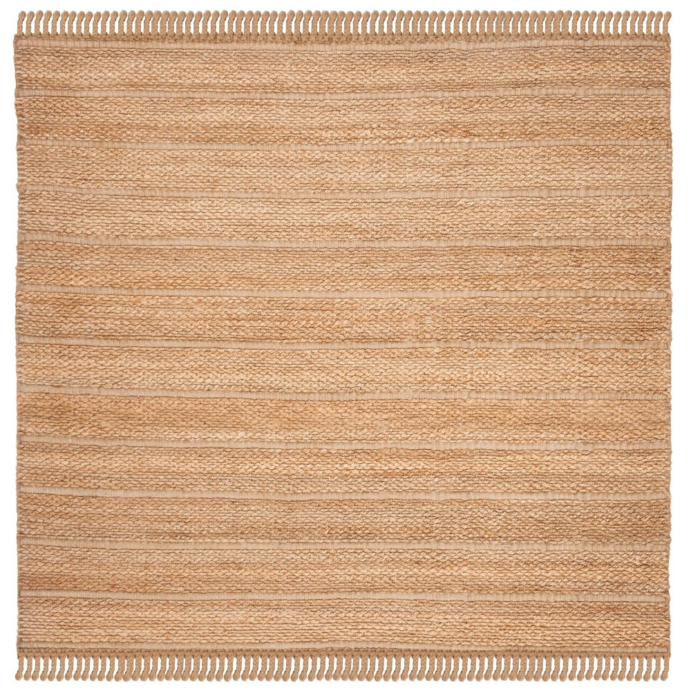 6 X6 Solid Woven Square Area Rug Natural Light Gray Safavieh
