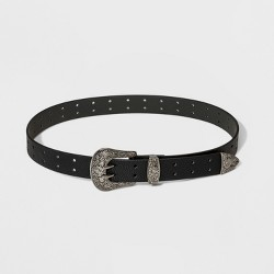 Women's Double Perforation Western Belt - Wild Fable™ Black