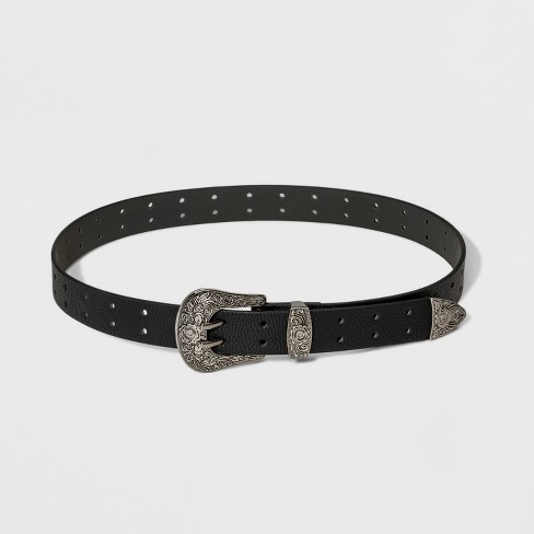 Women's Double Perforation Western Belt - Wild Fable™ Black - image 1 of 2