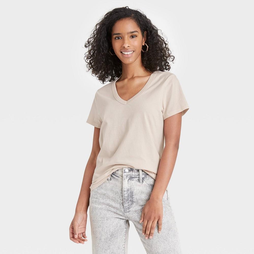 Women 39 S Short Sleeve V Neck T Shirt Universal Thread 8482 Beige Xxl