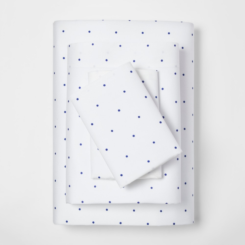 Queen 300 Thread Count Modern Printed Sheet Set Blue Dot - Project 62 + Nate Berkus