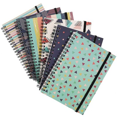 """6-Pack College Ruled Spiral Notebooks Writing Note Book Schools 90s Inspired Designs, 5""""x7"""""""