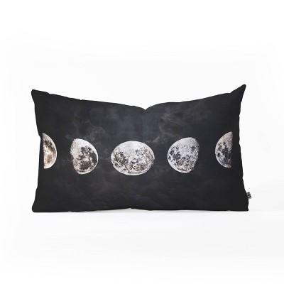 "14""x23"" Emanuela Carratoni Mystery Moon Lumbar Throw Pillow Black - Deny Designs"