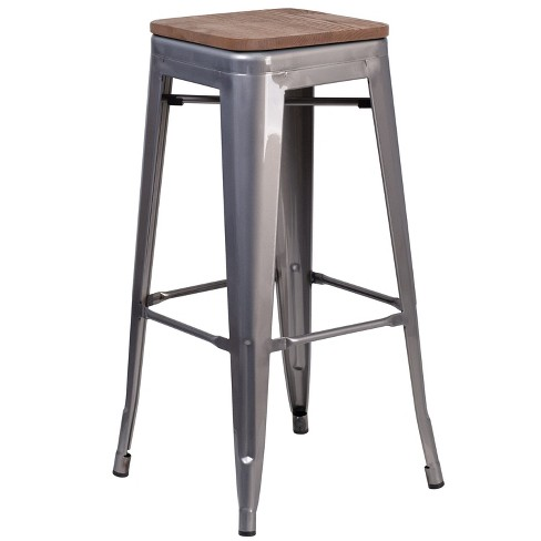 """Flash Furniture 30"""" High Backless Clear Coated Metal Barstool with Square Wood Seat - image 1 of 1"""