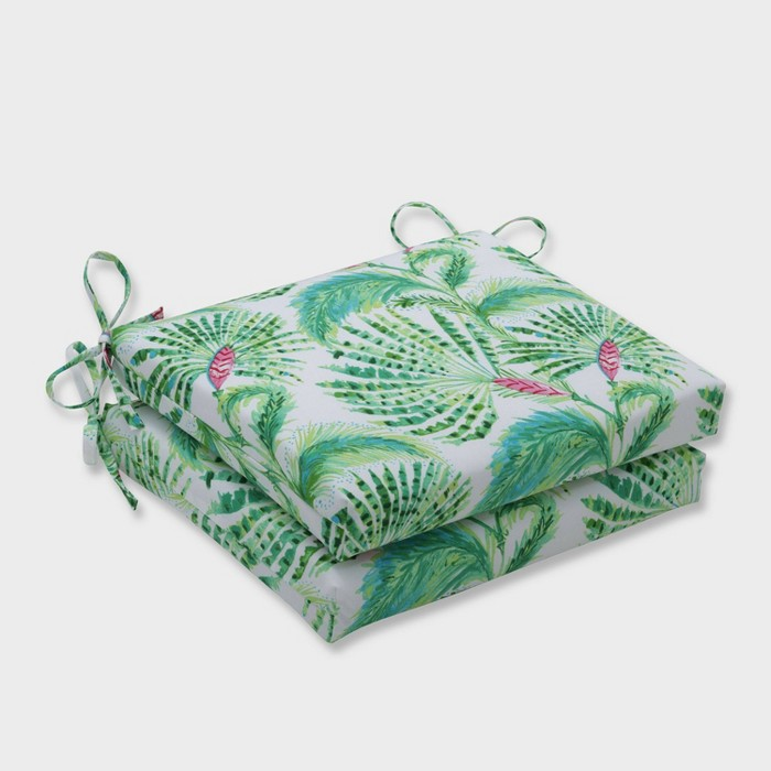 2pk Shake and Stir Tropical Squared Corners Outdoor Seat Cushions Green - Pillow Perfect - image 1 of 1