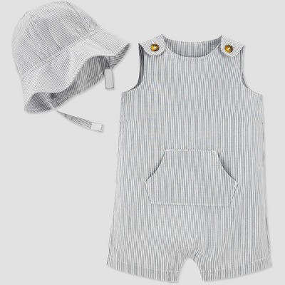 Baby Boys' 2pc Striped Shortall Romper Set with Hat - Just One You® made by carter's Blue 6M