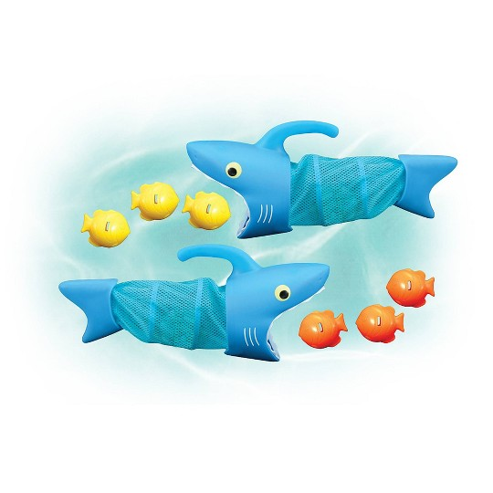 Melissa & Doug Sunny Patch Spark Shark Fish Hunt Pool Game With 2 Nets and 6 Fish to Catch, Adult Unisex image number null