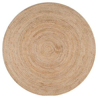 Off White Solid Woven Round Accent Rug - (4')- nuLOOM
