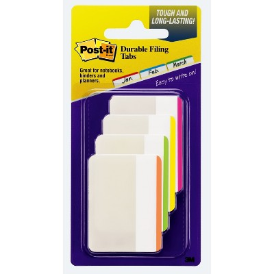 "Post-it 24ct 2"" Durable Lined Filing Tabs 4 Colors"