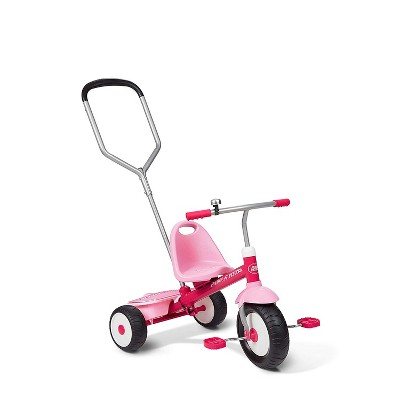 Radio Flyer Deluxe Steer and Stroll Kids Tricycle, Pink