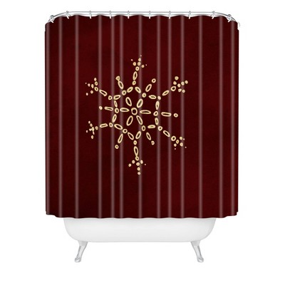 Chelsea Victoria Snowflake Shower Curtain Red - Deny Designs
