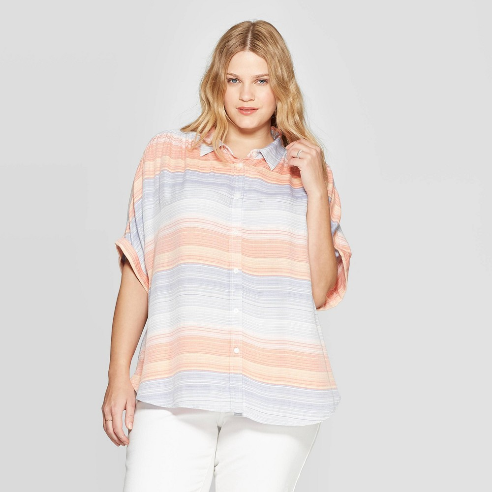 d3deb4c992f4 Womens Plus Size Striped Short Sleeve Collared Button Down Shirt Universal  Thread 1X Multicolored