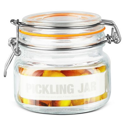 Home Basics 14 oz. Glass Pickling Jar with Wire Bail Lid and Rubber Seal Gasket
