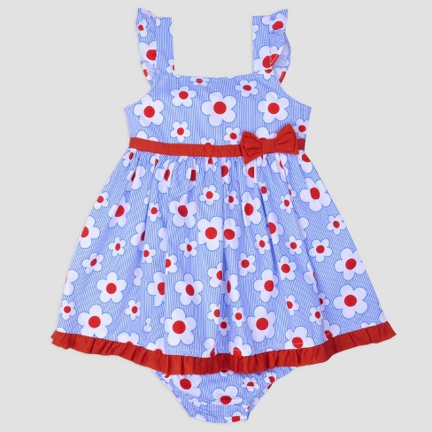 Baby Girls' Floral Poplin Sundress Nate & Annee™ Blue/Red - image 1 of 1