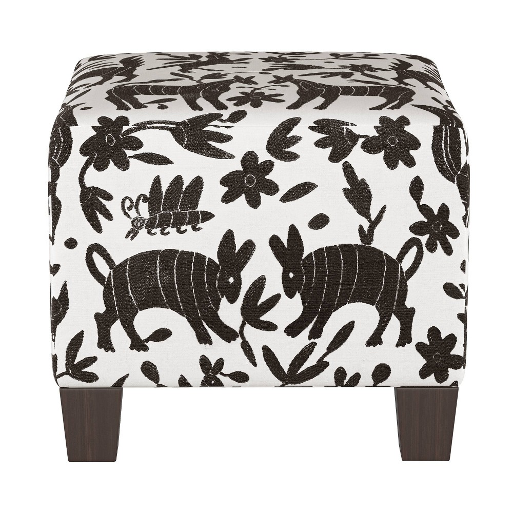 Square Ottoman In Pinata Tuxedo Black White Skyline Furniture