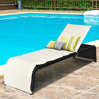 Costway Patio Rattan Lounge Chair Chaise Recliner Back Adjustable Cushioned