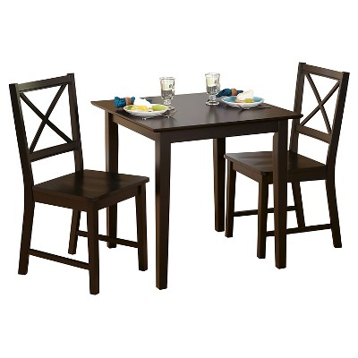 Charmant Cross Back Dining Set Espresso 3 Piece   TMS