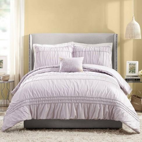 Full Queen 4pc Ruched Stripe Comforter, Light Purple Queen Bed Set