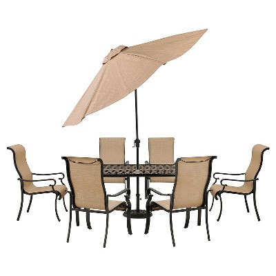 Hanover Brigantine 7-Piece Outdoor Dining Set with Cast-Top Table and 9' Umbrella