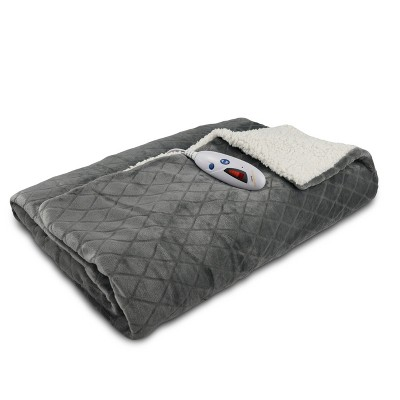 Velour With Sherpa Electric Throw (62 x50 )Gray Diamond Embossed - Biddeford Blankets
