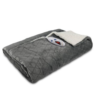 """Velour With Sherpa Electric Throw (62""""x50"""") Gray Diamond Embossed - Biddeford Blankets"""