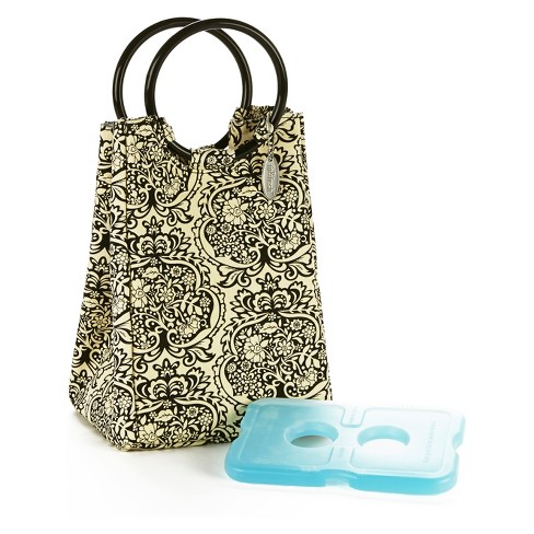 Fit & Fresh Retro Insulated Lunch Bag with Reusable Ice Pack - Black/Cream Damask - image 1 of 3